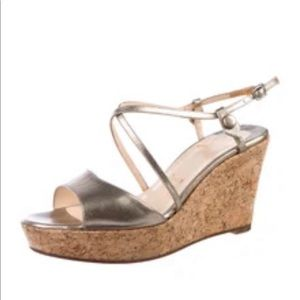 Christian Louboutin gold leather cork wedge shoes